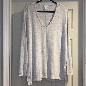 LOFT Lounge Grey Speckled V Neck Top Size XL
